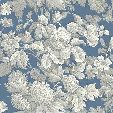 Inspired By Color™ Blue Antique Floral Wallpaper, Blue With Gray/White