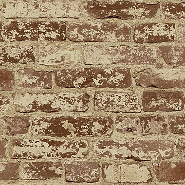 Inspired By Color™ Country & Lodge Stuccoed Brick Wallpaper, Brick Red With Tan