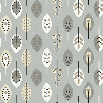 Inspired by Color™ Metallics Leaves Wallpaper, Silver With White/Black