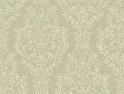 Inspired By Color™ Green Detailed Damask Wallpaper, Green With White