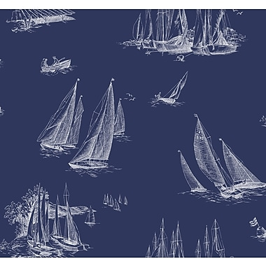 Inspired By Color™ Blue Sailboat Toile Wallpaper, Navy Blue With White