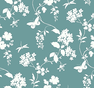 Inspired By Color™ Blue Scenic Vines Wallpaper, Blue With Green/Cream