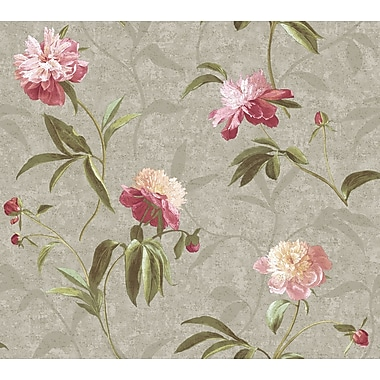 Inspired By Color™ Metallics Peonies Wallpaper, Silver With Peony Pink