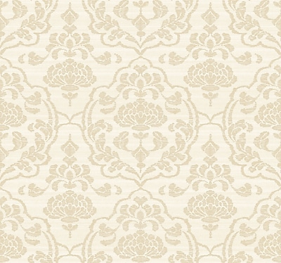 Inspired By Color™ Beige Damask On Silk Wallpaper, Off White With Gold