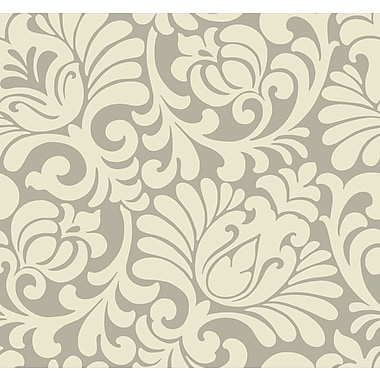 Inspired By Color™ Beige Tulip Damask Wallpaper, Pearly Tan With Cream