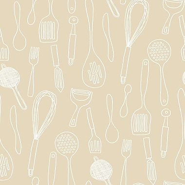 Inspired by Color™ Beige Kitchen Contours Wallpaper, Beige With White