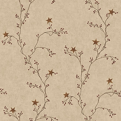 Inspired By Color™ Country & Lodge Star Berry Vine Wallpaper, Light Brown