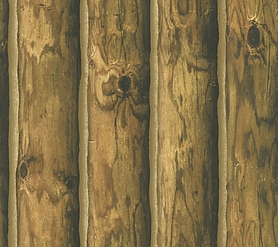 Inspired By Color™ Country & Lodge Mountain Logs Wallpaper, Orange With Brown
