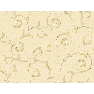 Inspired By Color™ Orange & Yellow Scroll Trail Wallpaper, Cream