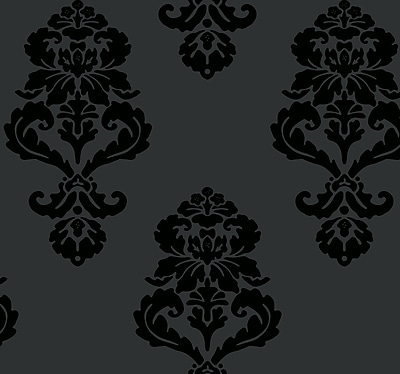 Inspired By Color™ Black & White Graphic Damask Wallpaper, Black