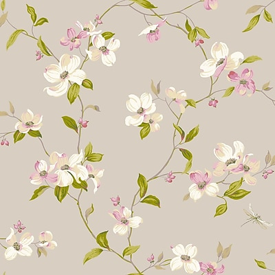 Inspired By Color™ Pink & Purple Dogwood Wallpaper, Metallics