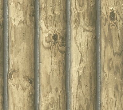 Inspired By Color™ Country & Lodge Mountain Logs Wallpaper, Light Brown