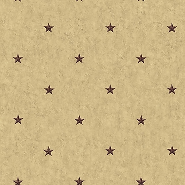 Inspired By Color™ Country & Lodge Barn Star Spot Wallpaper, Khaki With Red