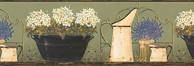 Inspired By Color™ Borders Hydrangea/Agate Border, Green With Off White