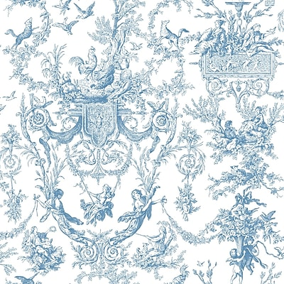 Inspired By Color™ Blue Old World Toile Wallpaper, Blue With White