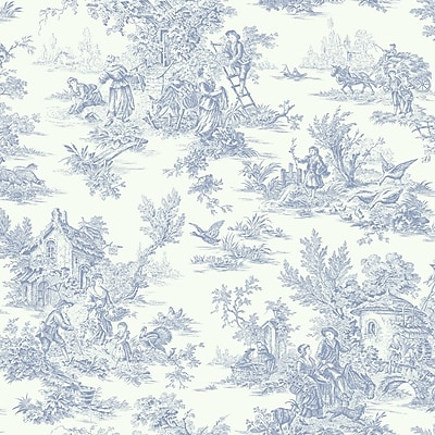 Inspired By Color™ Blue Campagne Toile Wallpaper, Blue With White