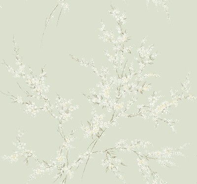 Inspired By Color™ Green Floral Spray Wallpaper, Green With White