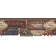 Inspired By Color™ Country & Lodge Bath Signs Border, Burgundy