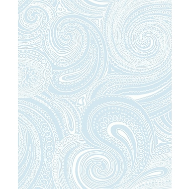 Inspired By Color™ Blue Paisley Swirl Wallpaper, Blue With White