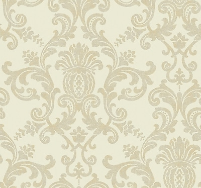 Inspired By Color™ Beige Silk Damask Wallpaper, White With Pearl
