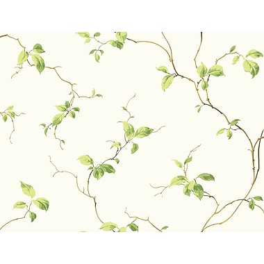 Inspired By Color™ Green Leaves Sidewall Wallpaper, Off White With Green