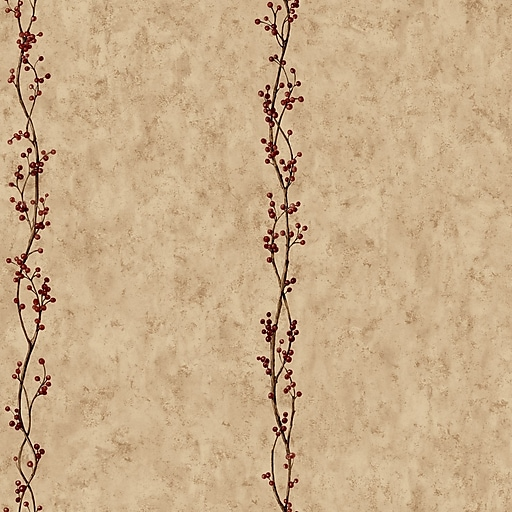 Inspired by Color™ Country & Lodge Rose Hip Stripe Wallpaper, Khaki
