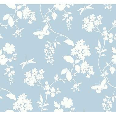 Inspired By Color™ Blue Scenic Vines Wallpaper, Blue With White