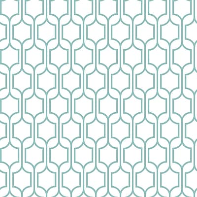 Inspired by Color™ Blue Trellis Wallpaper, Aqua Blue With White