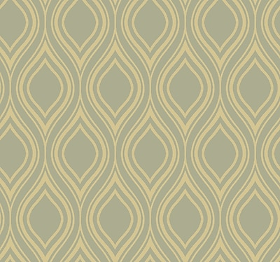 Inspired By Color™ Metallics Ogee Wallpaper, Silver With Taupe