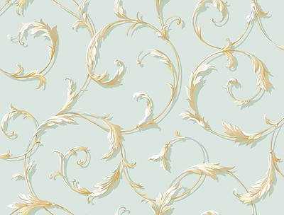 Inspired By Color™ Blue Acanthus Scroll Wallpaper, Blue