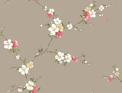 Inspired By Color™ Beige Blossom Trail Wallpaper, Taupe