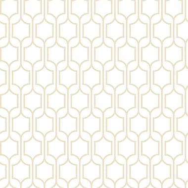 Inspired by Color™ Beige Trellis Wallpaper, Tan With White