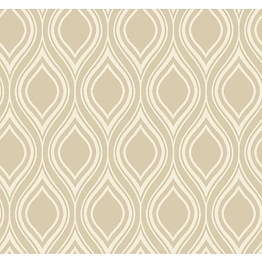 Inspired By Color™ Beige Ogee Wallpaper, Taupe With Tan