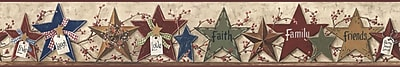 Inspired By Color™ Borders Decorative Stars Border, Tan With Red/Navy/Gold/Green