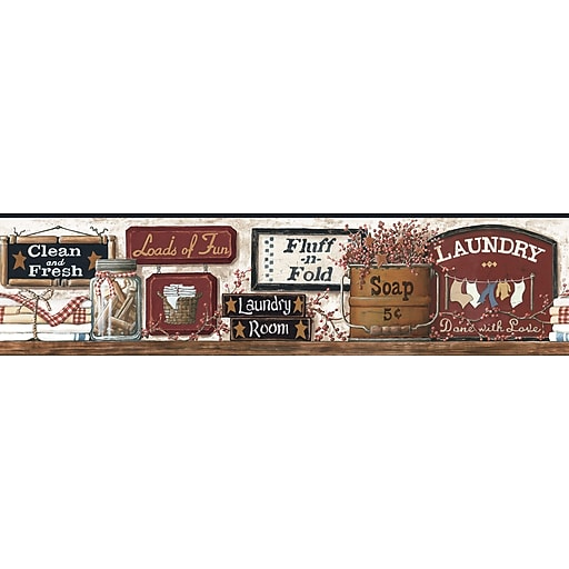 Inspired By Color™ Borders Laundry Border, Off White With Red Burgundy/Black