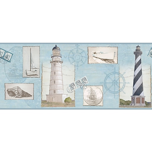 Inspired By Color™ Borders Seacoast Lighthouse Border, Aqua With White/Black