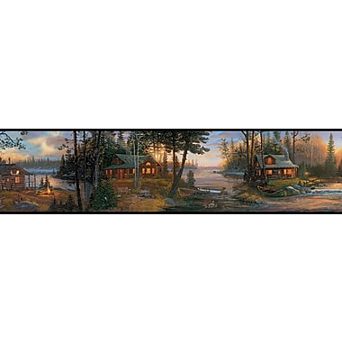Inspired By Color™ Borders Cabin Fever Border, Black With Blue/Brown
