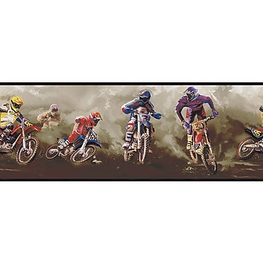 Inspired By Color™ Kids Motorcross Border, Gray With Brown/Blue