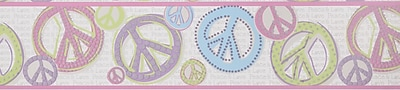 Inspired By Color™ Kids Girl Peace Sign Border, Silver With Pink/Black