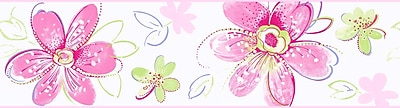 Inspired By Color™ Kids Bohemian Floral Border, Pink With Green/White/Yellow