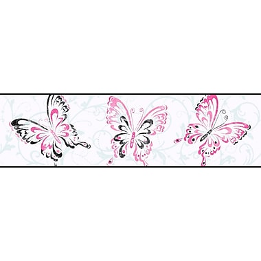 Inspired By Color™ Kids Butterfly/Scroll Border, White With Pink