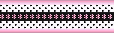 Inspired By Color™ Borders Daisy Ribbon Border, Pink With Black