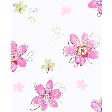 Inspired By Color™ Kids Bohemian Floral Sidewall Wallpaper, Pink With Green/White/Yellow