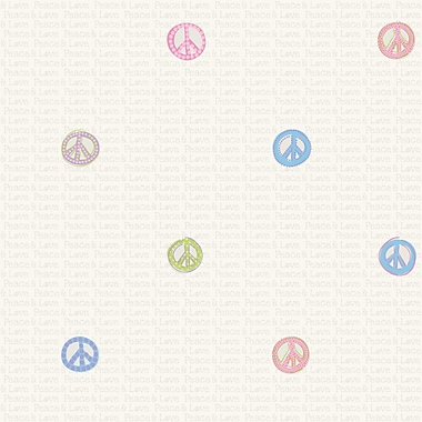 Inspired By Color™ Kids Girl Peace Signs Wallpaper, Light Pastels