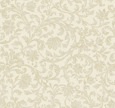 Inspired By Color™ Beige Text Scroll Wallpaper, White
