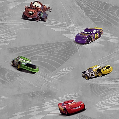 Inspired By Color™ Kids Cars Racing Wallpaper, Silver