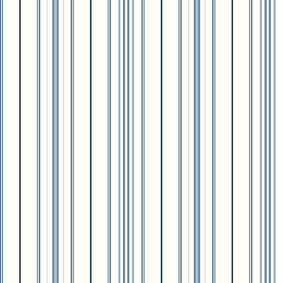 Inspired By Color™ Blue Wide Pinstripe Wallpaper, White With Blue