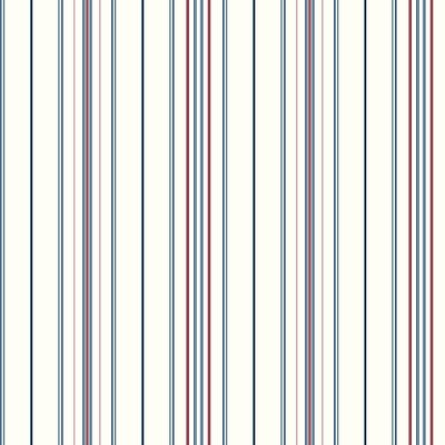 Inspired By Color™ Blue Wide Pinstripe Wallpaper, White With Red