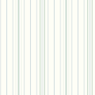 Inspired By Color™ Blue Wide Pinstripe Wallpaper, White With Aqua