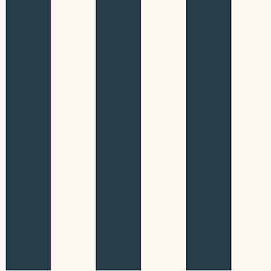 Inspired By Color™ Blue 3 Stripe Wallpaper, Dark Blue With White